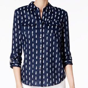 Charter Club Seahorse Print Linen Shirt. Sz L